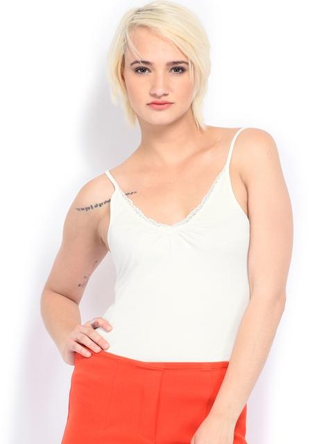 Vero Moda Women Off-White Lace Spaghetti Top