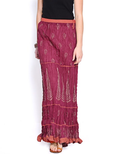 BIBA OUTLET Burgundy Printed Skirt