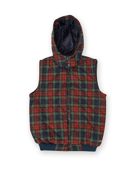U.S. Polo Assn. Kids Boys Green & Red Checked Hooded Jacket