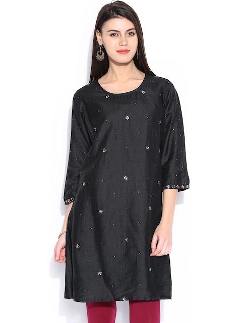 Fabindia Women Black Silk Kurta