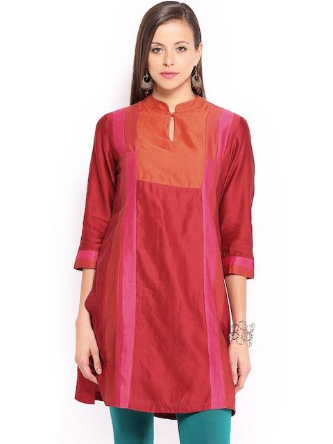 Fabindia Women Red & Pink Chanderi Silk Kurta