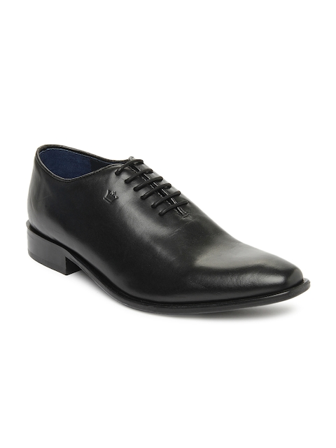 Louis Philippe Men Black Leather Formal Shoes