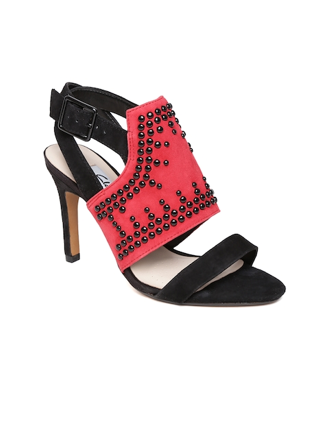 Clarks Women Black & Red Shola Curtain Embellished Stilettos