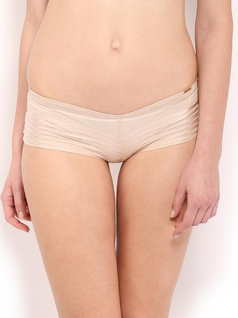 Amante Women Nude-Coloured Self-Striped Boyshorts PGSR02