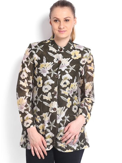 Fabels by Fabindia Women Olive Green Printed Shirt