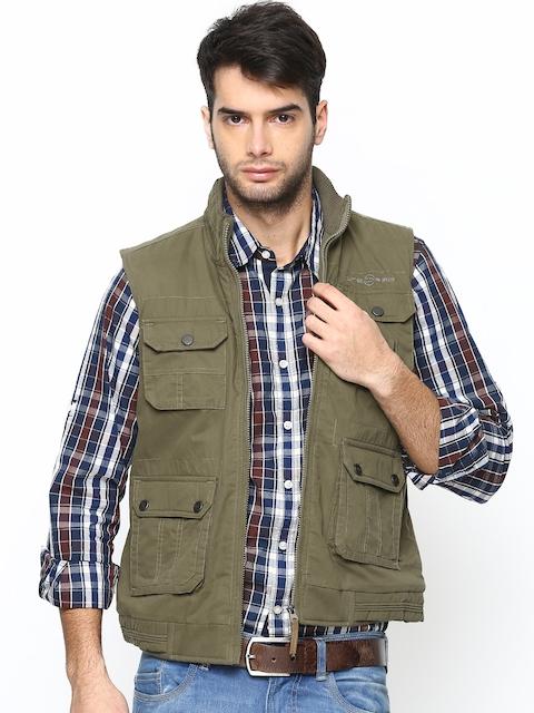 Duke Men Olive Green Sleeveless Jacket
