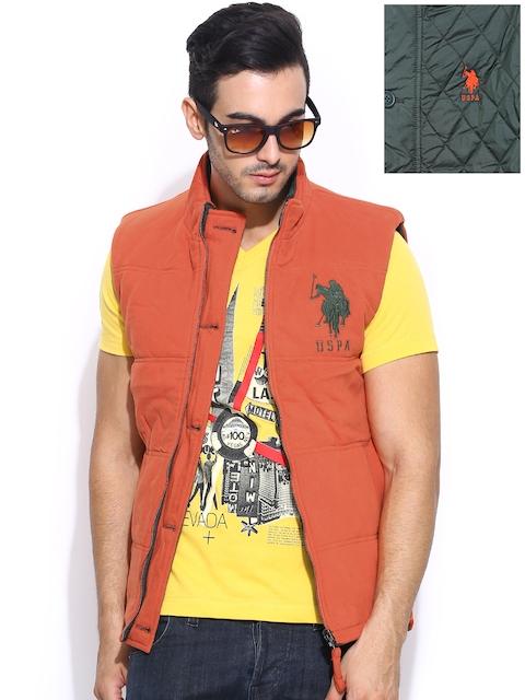 U.S. Polo Assn. Men Olive Green & Orange Sleeveless Padded Reversible Jacket