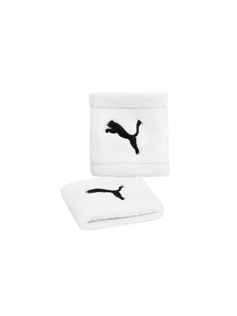 Puma Unisex Pack of 2 White Wristbands