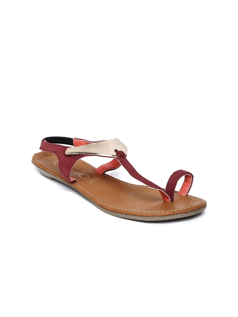 Catwalk Women Burgundy & Gold-Toned Sandals