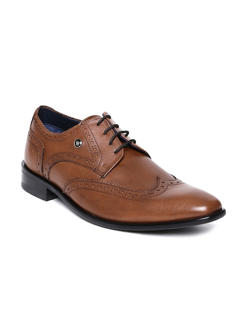 Louis Philippe Men Brown Crust Leather Semiformal Shoes