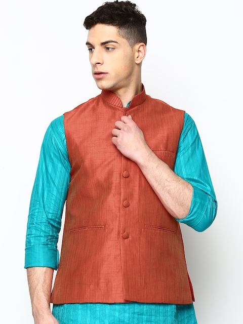 Manyavar Men Red Nehru Jacket  available at myntra for Rs.2999