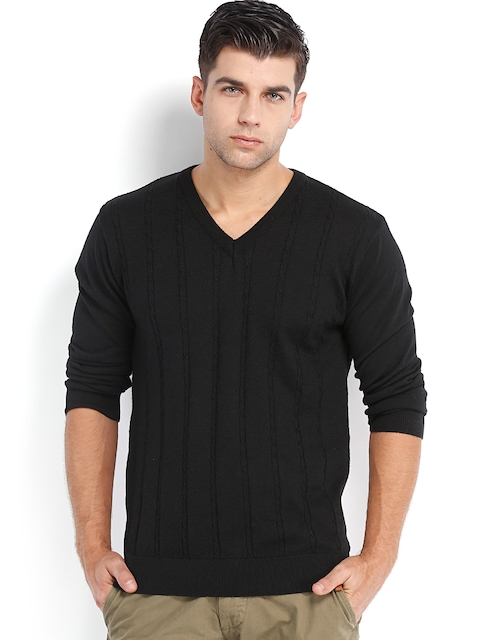 Peter England Men Black Woollen Sweater