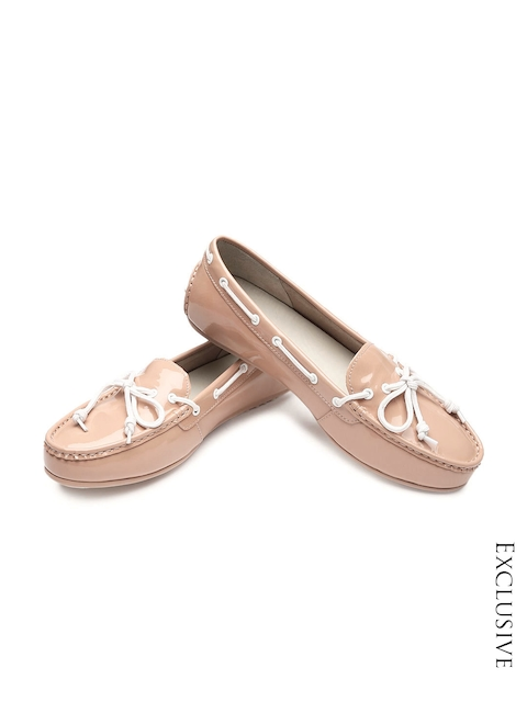 Cole Haan Women Nude-Coloured Patent Leather Boat Shoes