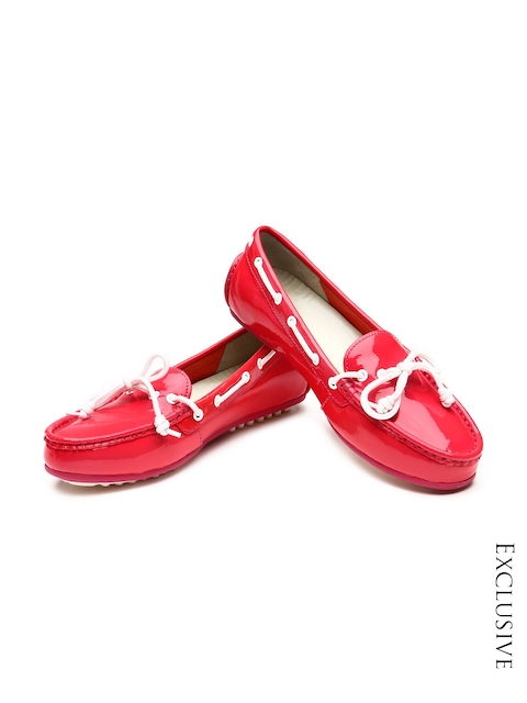 Cole Haan Women Pink Patent Leather Boat Shoes