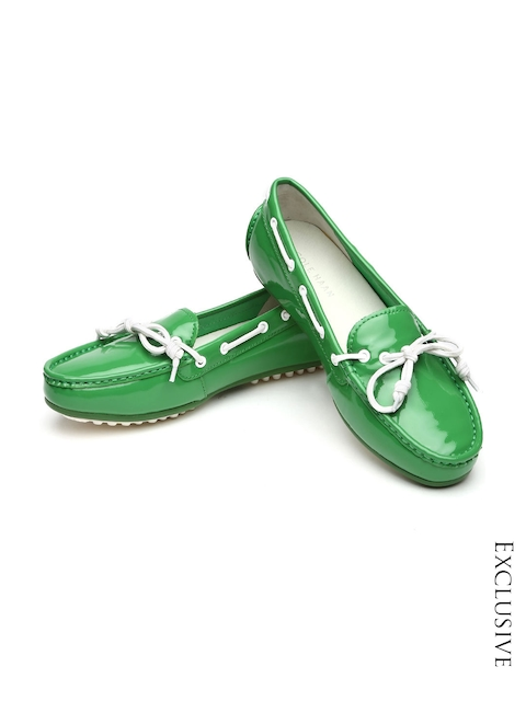 Cole Haan Women Green Patent Leather Boat Shoes