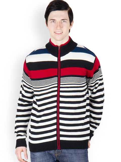 Buy Cotton County Premium Men Black & Off White Striped Pullover ...