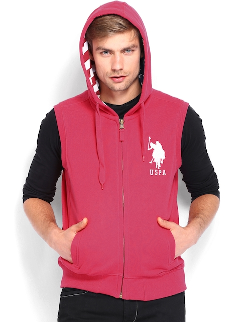 U.S. Polo Assn. Men Pink Sleeveless Hooded Sweatshirt