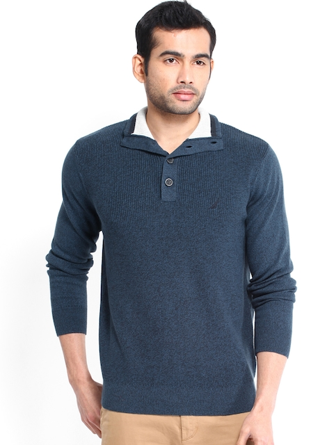 Nautica Men Dark Blue Melange Sweater