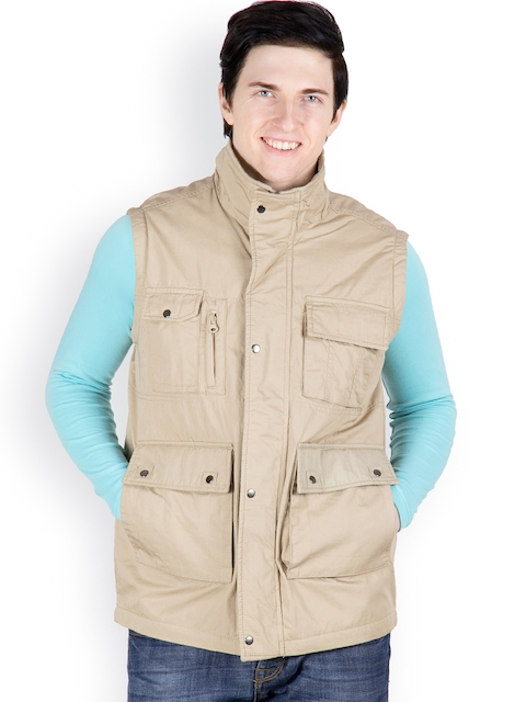 Cotton County Premium Men Khaki Sleeveless Jacket  available at myntra for Rs.1099