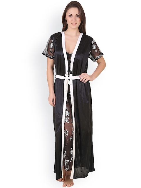Masha Black Nightdress with Robe HCBD2PC76-263