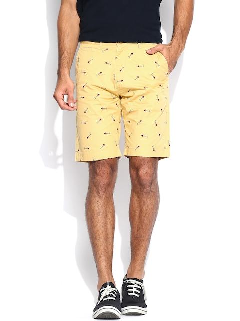 IZOD Men Khaki Printed Slim Fit Shorts