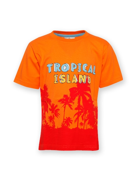 Joshua Tree Tropical Tide Boys Orange Printed T-shirt