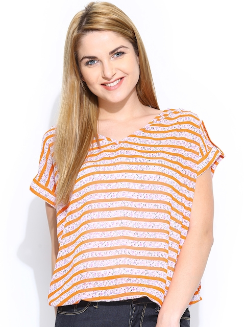 Wills Lifestyle Women Orange & Off-White Striped Top