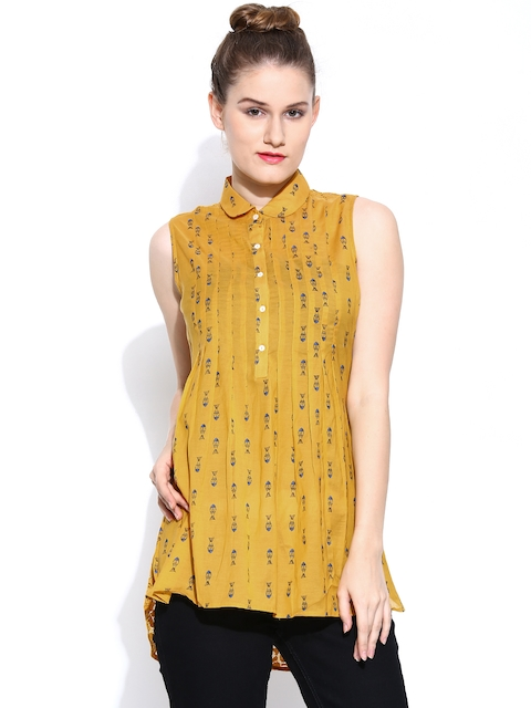 Wills Lifestyle Women Mustard Yellow Printed Top