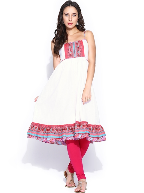BIBA OUTLET Women Off-White Anarkali Kurta  available at myntra for Rs.1019