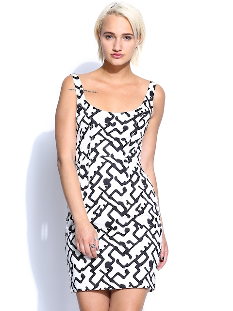 French Connection White & Black Printed Bodycon Dress