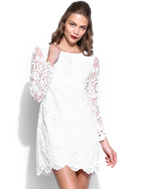 French Connection White Polyester Lace Shift Dress