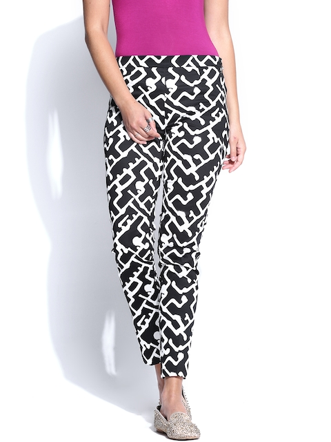 French Connection Women Black & White Printed Trousers