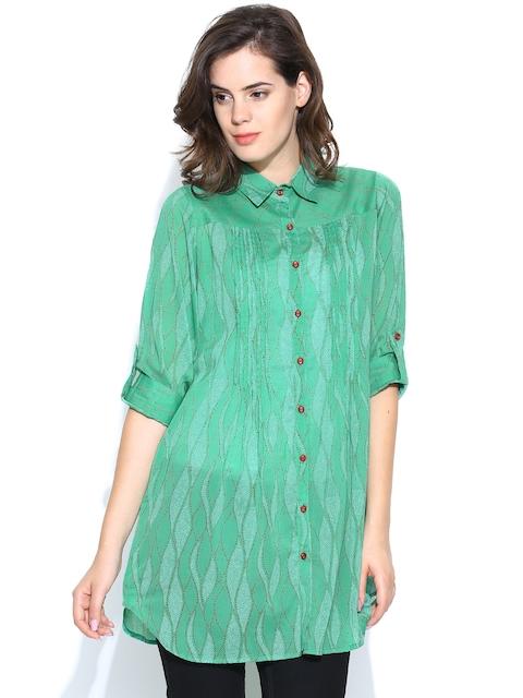 Fabindia Women Green Printed Casual Shirt