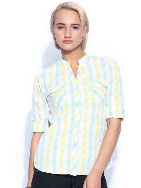Mast & Harbour Women Yellow & Blue Checked Casual Shirt