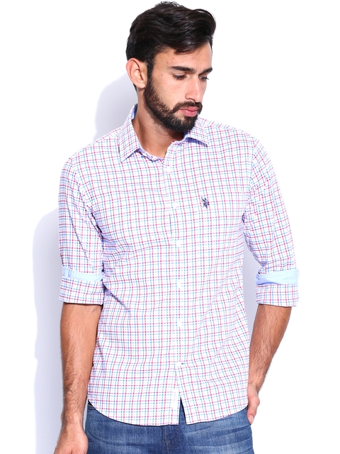U.S. Polo Assn. Men White & Blue Checked Tailored Fit Casual Shirt