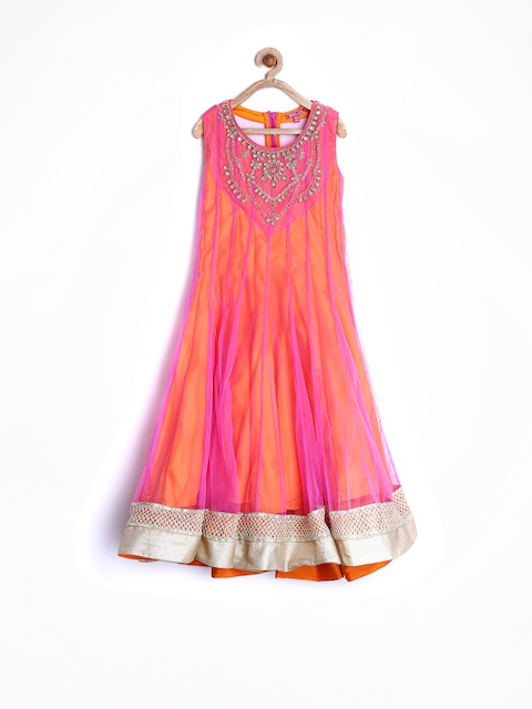 BIBA Girls Pink & Orange Anarkali Kurta