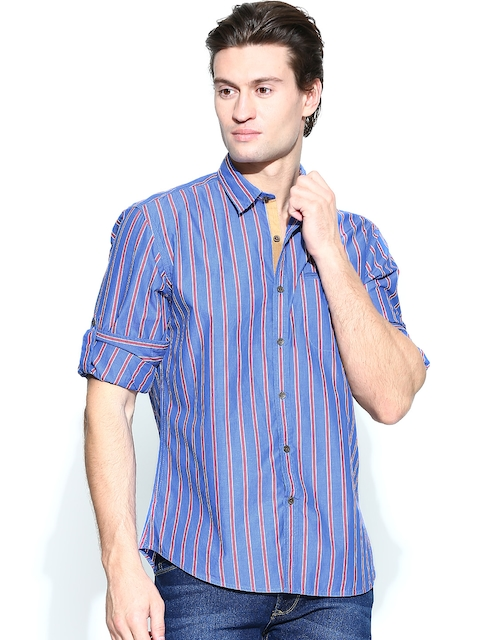 John Players Men Blue & Red Striped Trim Fit Casual Shirt