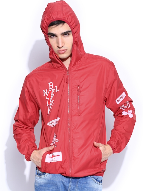 People Men Red Printed Hooded Jacket