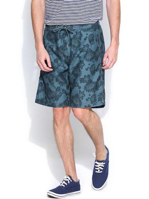 Jack & Jones Men Teal Blue Printed Shorts  available at myntra for Rs.847