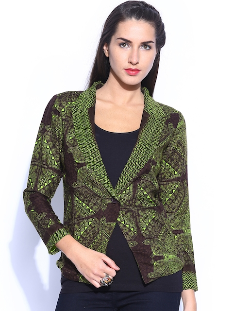 Global Desi Women Brown & Green Printed Jacket