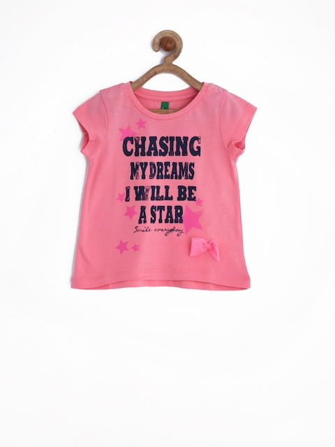United Colors of Benetton Girls Pink Printed Top