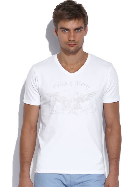Wrangler Men White Printed Lycra T-shirt