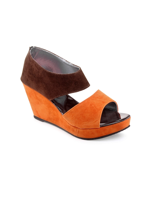 Kielz Women Orange & Brown Platforms