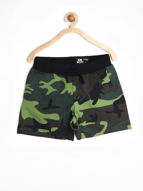 Flying Machine Boys Green & Brown Camouflage Printed Shorts