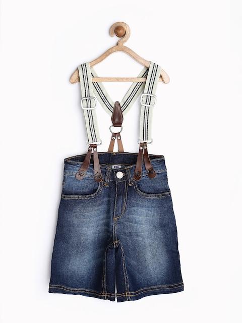 Flying Machine Boys Dark Blue Denim Shorts with Suspenders