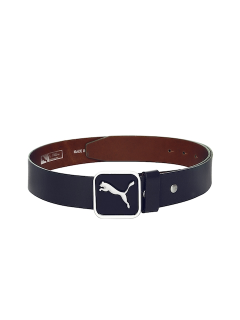 PUMA Men Navy Leather Square Fitted Belt