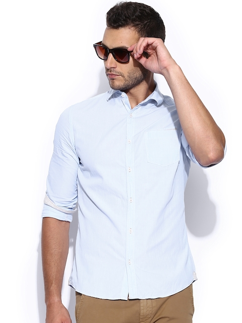GAS Men Blue Casual Shirt  available at myntra for Rs.3493