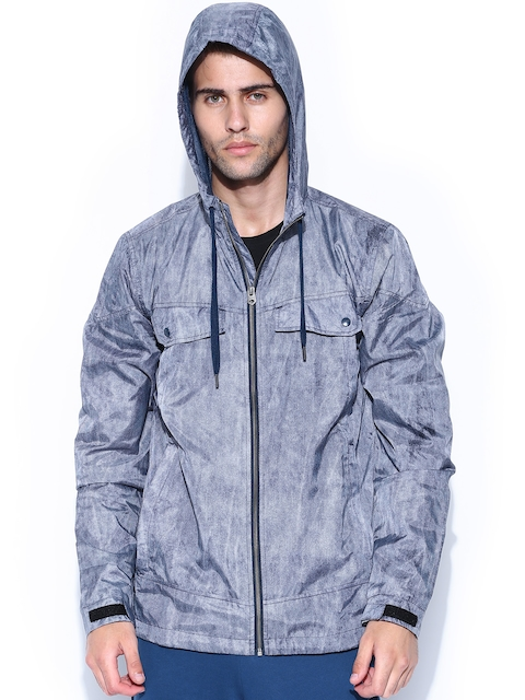 Adidas NEO Men Blue M WB Printed Hooded Jacket