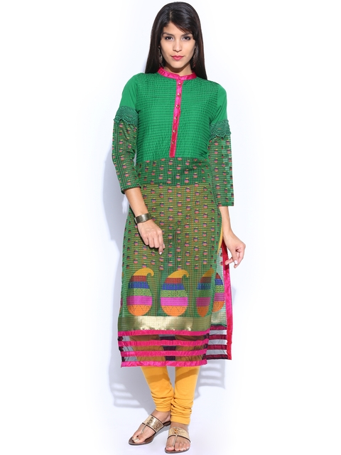 Folklore Women Green Kurta  available at myntra for Rs.799