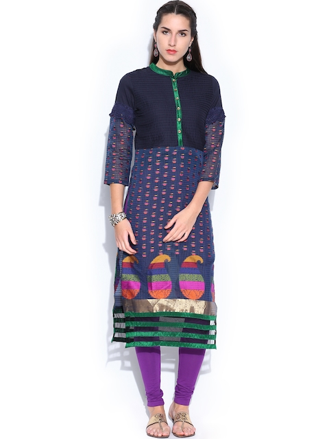 Folklore Women Navy Kurta  available at myntra for Rs.799